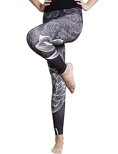 povoljno Vježbanje, fitness i joga-Žene Visoki struk Hlače za jogu 3D digitalni ispis Crn Tamno siva Crna / srebrna Red / White Zlatan Spandex Trčanje Fitness Trening u teretani Biciklizam Hulahopke Tajice Sport Odjeća za rekreaciju