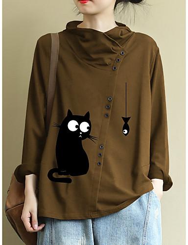 billige Dametopper-Skjorte Dame - Dyr Katt Gul