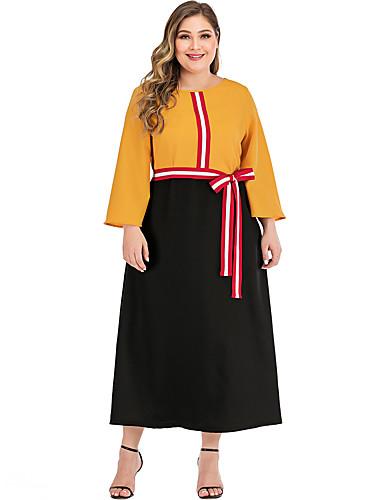 levne Šaty velkých velikostí-Dámské Elegantní Pouzdro Šaty - Barevné bloky, Patchwork Maxi