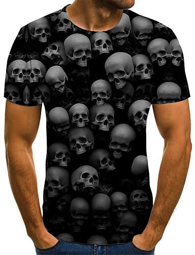 billige T-skjorter med 3D-trykk til herrer-T-skjorte Herre - Geometrisk / 3D / Hodeskaller, Flettet / Trykt mønster Gatemote / overdrevet Svart