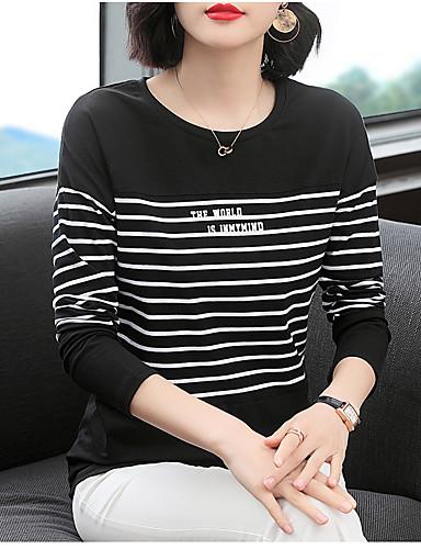 billige T-skjorter til damer-T-skjorte Dame - Stripet, Lapper Elegant Svart