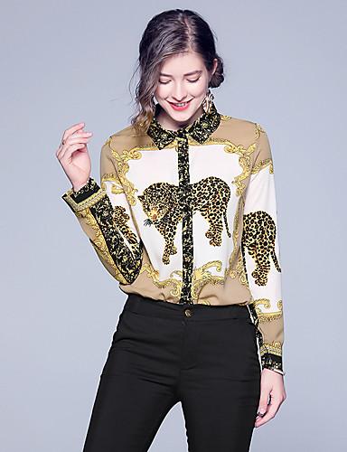 billige Dametopper-Skjorte Dame - Dyr, Lapper / Trykt mønster Vintage / Elegant Kakifarget