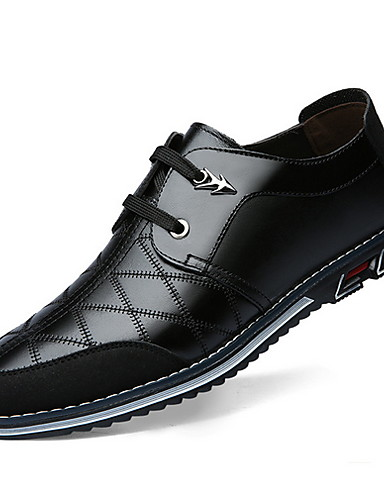 billige Oxford-sko til herrer-Herre Komfort Sko Lær Høst vinter Oxfords Svart / Brun / Blå