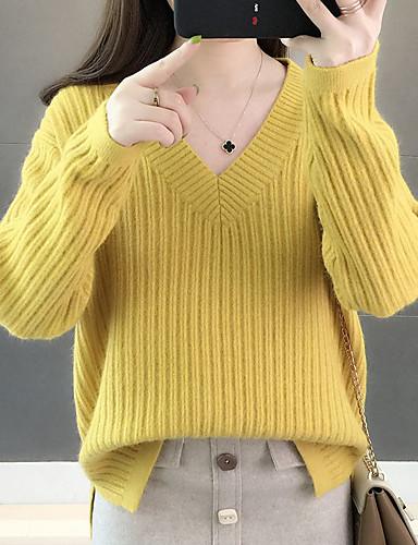 Női Egyszínű Hosszú ujj Bő Pulóver Pulóver jumper, V-alakú Ősz / Tél Fehér / Arcpír rózsaszín / Sárga Egy méret