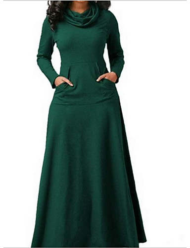 cheap New in Dresses-Women's Swing Dress - Solid Colored Black Wine White S M L XL