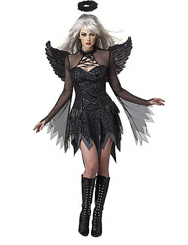 cheap Men's & Women's Halloween Costumes-Fallen Angel Cosplay Costume Outfits Adults' Women's Cosplay Vacation Dress Halloween Halloween Carnival Masquerade Festival / Holiday Cotton Black Women's Female Easy Carnival Costumes Solid Colored