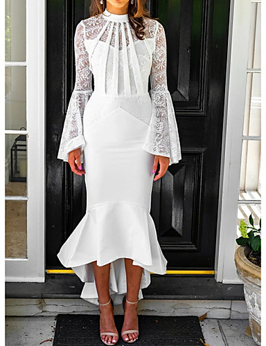 cheap Prom Dresses-Mermaid / Trumpet Elegant White Party Wear Cocktail Party Dress High Neck Long Sleeve Asymmetrical Chiffon with Lace Insert 2020