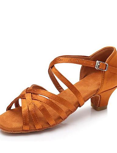cheap 11.11 - Latin Shoes Under $30-Girls' Dance Shoes Satin Latin Shoes Heel Cuban Heel Customizable Black / Brown / Camel