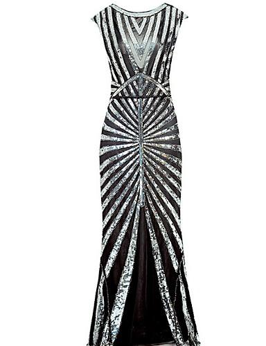 preiswerte Paillettenkleider-Damen Hülle Kleid Solide Midi