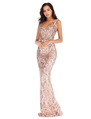 levne Maxi šaty-Dámské Elegantní Mořská panna Šaty - Geometrický, Flitry Maxi