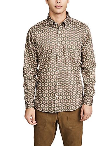 voordelige Herenoverhemden-Heren Standaard Overhemd Geometrisch Khaki