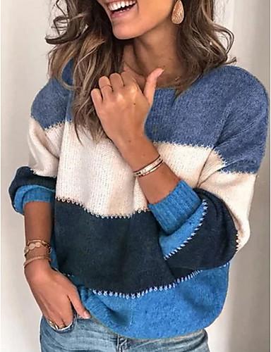billige Dametopper-Dame Stripet Langermet Løstsittende Pullover Genserjumper, Rund hals Svart / Lilla / Oransje S / M / L