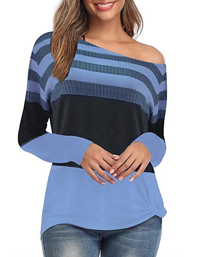 billige Dametopper-T-skjorte Dame - Fargeblokk, Trykt mønster Grunnleggende Lyseblå