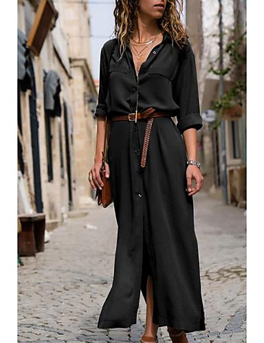voordelige Maxi-jurken-Dames Elegant Overhemd Jurk - Effen, Print Maxi