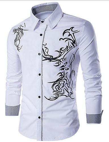 voordelige Herenoverhemden-Heren Standaard Print Overhemd Geometrisch Zwart