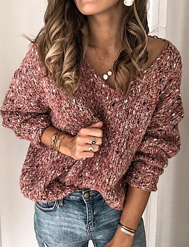 billige Dametopper-Dame Ensfarget Langermet Pullover, V-hals Rosa / Gul / Blå S / M / L