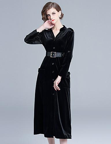 voordelige Grote maten jurken-Dames Vintage Elegant Schede Wijd uitlopend Jurk - Effen, Patchwork Trekkoord Midi