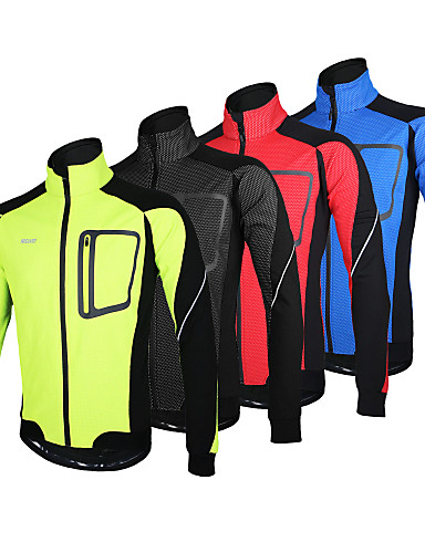 povoljno Odjeća za vožnju biciklom-Arsuxeo Muškarci Biciklistička jakna Bicikl Jakna Zima Flis jakne Majice Ugrijati Vjetronepropusnost Podstava od flisa Sportski Poliester Spandex Runo Zima Crvena / Plava / Svijetlo zelena Brdski