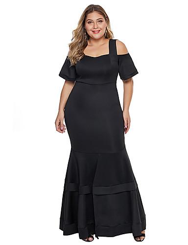 voordelige Grote maten jurken-Dames Standaard Schede Jurk - Effen, Meerlaags Maxi
