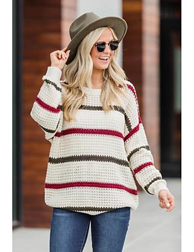 billige Gensere til damer-Dame Stripet / Fargeblokk Langermet Pullover Genserjumper Beige S / M / L