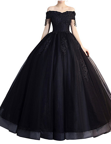 cheap Special Occasion Dresses-A-Line Elegant Formal Evening Dress Off Shoulder Short Sleeve Floor Length Polyester with Beading Tassel Appliques 2020