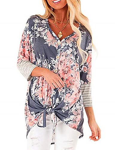 billige Skjorter til damer-Skjorte Dame - Blomstret Lyseblå