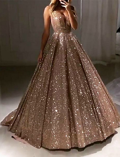 cheap Wedding Dresses-Ball Gown V Neck Sweep / Brush Train Satin Sparkle / Gold Prom / Quinceanera Dress with Sequin / Pleats 2020