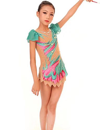 povoljno Vježbanje, fitness i joga-Triko za ritmičku gimnastiku Trikoi za ritmičku gimnastiku Žene Djevojčice Triko za vježbanje Djetelina Visoka elastičnost Ručno izrađen Print Jeweled Dugih rukava Natjecanje Balet Plesne Klizanje na