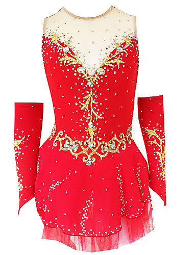 cheap Ice Skating-21Grams Figure Skating Dress Women's Girls' Ice Skating Dress Violet White / White Yellow & Yellow Spandex Stretch Yarn Micro-elastic Training Skating Wear Classic Crystal / Rhinestone Ice Skating