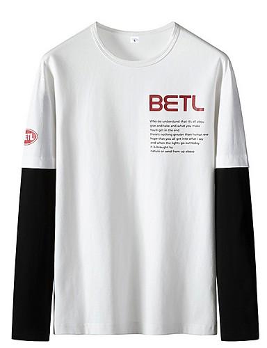 voordelige Heren T-shirts & tanktops-Heren T-shirt Kleurenblok Zwart
