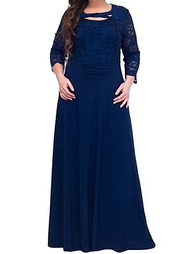 voordelige Grote maten jurken-Dames A-lijn Jurk - Effen Maxi