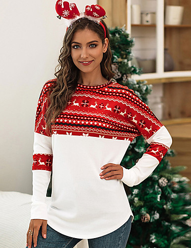 billige T-skjorter til damer-T-skjorte Dame - Geometrisk Hvit