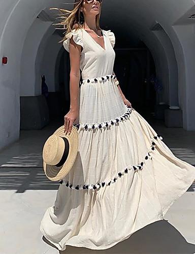 levne Maxi šaty-Dámské Pouzdro Šaty - Jednobarevné, Třásně Patchwork Maxi