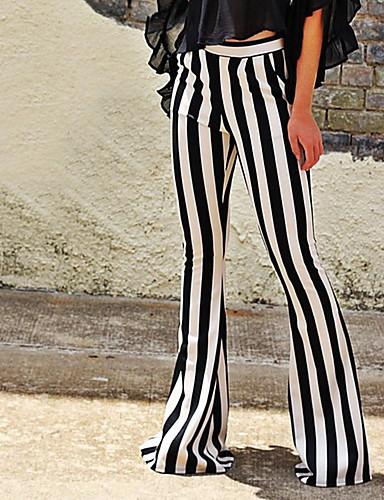 billige Tights til damer-Dame Gatemote Nødbluss Bukser - Stripet Svart S M L