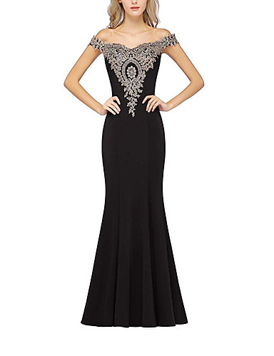 cheap Special Occasion Dresses-Mermaid / Trumpet Open Back Formal Evening Dress Off Shoulder Short Sleeve Sweep / Brush Train Polyester with Crystals Appliques 2020