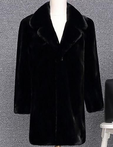 levne Pánská saka a kabáty-Pánské Denní Podzim zima Standardní Faux Fur Coat, Jednobarevné Přehnutý Dlouhý rukáv Umělá kožešina Černá / Hnědá
