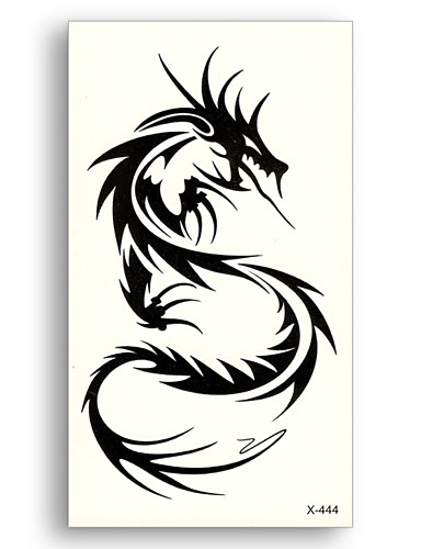 preiswerte Tattoo, Tätowierung-10 stücke wasser transfer fake tattoos einweg wasserdicht temporäre black dragon totem aufkleber schönheit frauen männer sexy cool body art