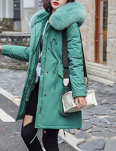 levne Dámské parky a paleta-Dámské Jednobarevné Dlouhý kabát, Polyester Černá / Světlá růžová / Vodní modrá S / M / L