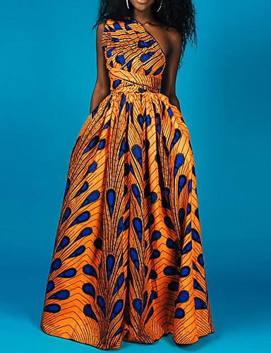 voordelige Maxi-jurken-Dames Standaard Boho Schede Jurk - Geometrisch Kleurenblok, Veters Patchwork Print Midi