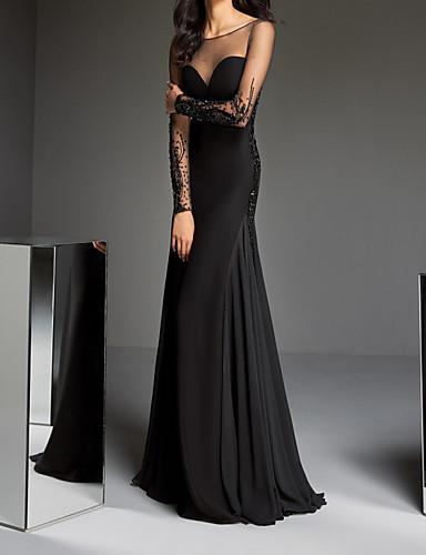 povoljno Crne party haljine-A-kroj Ovalni izrez Jako kratki šlep Šarmez Formalna večer Haljina s Perlica / Aplikacije / Drapirano po LAN TING Express