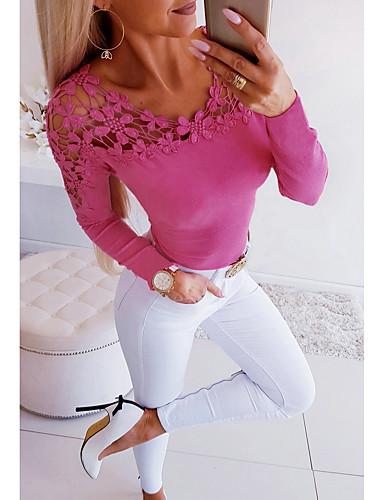 billige T-skjorter til damer-T-skjorte Dame - Ensfarget, Utskjæring Grunnleggende Blå