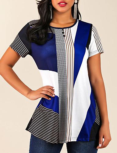 preiswerte Damen Oberteile-Damen Einfarbig T-shirt Blau