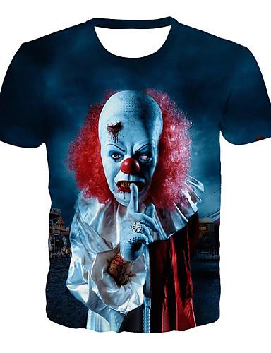 voordelige Heren T-shirts & tanktops-Heren Standaard / overdreven Print T-shirt 3D / Grafisch / Doodskoppen blauw
