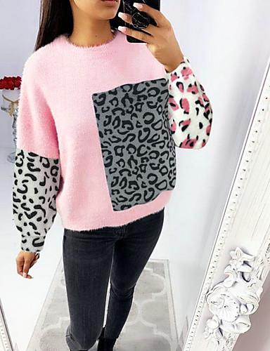 billige Dametopper-Dame Leopard Langermet Pullover Genserjumper, Rund hals Vinter Rosa / Gul S / M / L