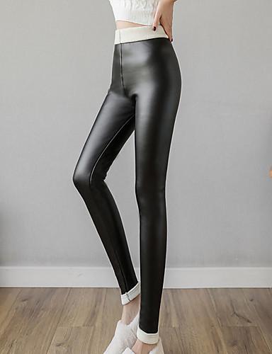 preiswerte Damen Leggings-Damen PU / Fleece-Futter Legging - Solide, Gerüscht Hohe Taillenlinie Schwarz S M L