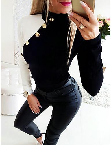 billige Dametopper-T-skjorte Dame - Fargeblokk, Lapper Grunnleggende Svart