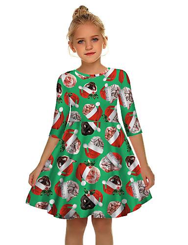 Gyerekek Lány Aktív Édes Mikulás Karácsony Féhosszú Térd feletti Ruha Rubin