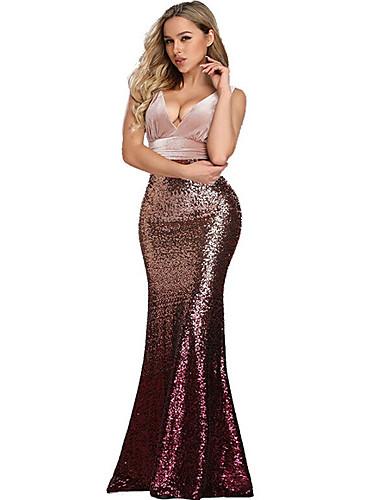 levne Maxi šaty-Dámské Bodycon Šaty - Barevné bloky Maxi