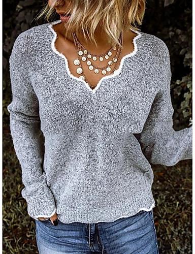 preiswerte Modische Damenbekleidung-Damen Solide Langarm Pullover Pullover Jumper, V-Ausschnitt Schwarz / Purpur / Rosa S / M / L
