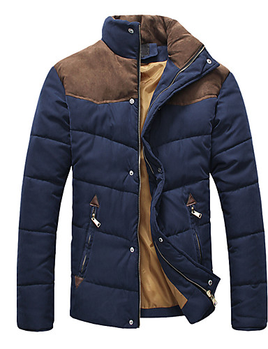 levne Pánské kabáty a parky-Pánské Barevné bloky Standardní S vycpávkou, Polyester Světle modrá / Armádní zelená / Námořnická modř US32 / UK32 / EU40 / US34 / UK34 / EU42 / US36 / UK36 / EU44